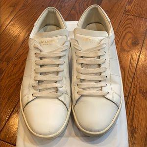 Saint Laurent white lace up sneakers sz 38